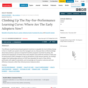 Climbing up the pay-for-performance learning curve: where are the early adopters now?