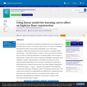 Using linear model for learning curve effect on highrise floor construction