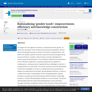 Rationalizing 'gender-wash': empowerment, efficiency and knowledge construction