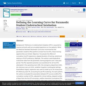 Defining the learning curve for paramedic student endotracheal intubation