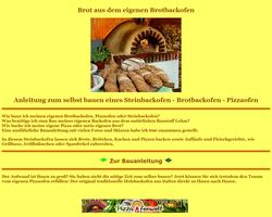 Vorschau der Homepage von Bauanleitung für Brotbackofen - Pizzaofen