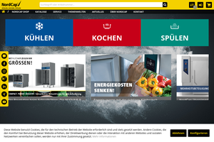 Vorschaubild der Homepage von NordCap - Kühlmöbel für den Profi-Bereich