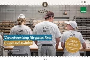Vorschaubild der Homepage von D-97072 Vollkornbäckerei Köhler