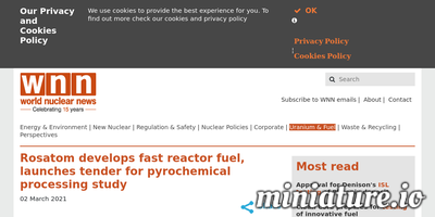 Read the full Article: Rosatom develops fast reactor fuel, launches tender for pyrochemical processing study