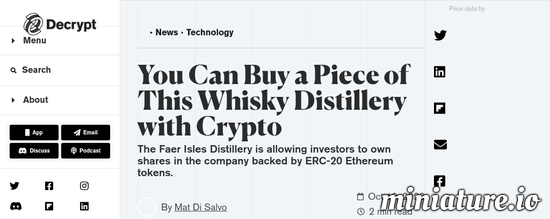 Cool huh? Please read the full Article: You Can Buy a Piece of This Whisky Distillery with Crypto