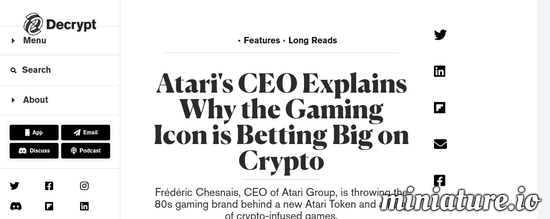 Cool huh? Please read the full Article: Atari's CEO Explains Why the Gaming Icon is Betting Big on Crypto