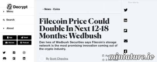 Cool huh? Please read the full Article: Filecoin Price Could Double In Next 12-18 Months: Wedbush