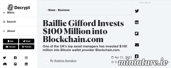 Cool huh? Please read the full Article: Baillie Gifford Invests $100 Million into Blockchain.com